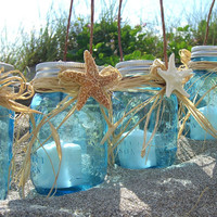 Mason Jar Lanterns SET of 4-TIFFANY BLUE-Beach Wedding, Beach Home, Coastal Living, Mason Jars, Coastal Home Decor, Seashore, Blue Mason Jar