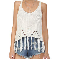Fringe Crochet Crop Tank Top