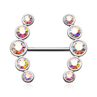 Set Of Sparkle Ray Multi-Gem Nipple Ring Body Jewelry Nipple Rings 14ga Surgical Steel