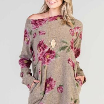 floral boatneck tunic top