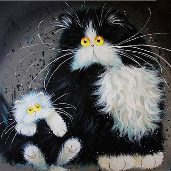 5D Diamond Painting Black & White Puff Cat Collection Kit