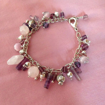 Amethyst Rose Quartz and Silver Charm Bracelet Womens Trendy Chic Elegant Lavender Pink Multi Semi Precious Charms
