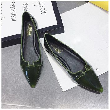 Pointed Toe Match Flat Elegant Slip On Shoes For Women