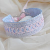 Alpenglow - fairy kei pastel kawaii cute lolita neko girl kitten pet play - pink and blue lace collar
