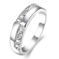 Stagger Block Silver Ring