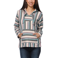 Senor Lopez Girls Natural Grey & Mint Stripe Poncho