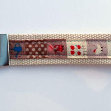 Webbing wristlet keyring. Wrist strap key fob. Ideal teachers gift. Fabric key ring
