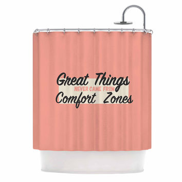 """Juan Paolo """"Great Things"""" Digital Vintage Shower Curtain"""