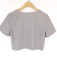 90s Crop Top -- 90s Minimalist Shirt -- Black & White Check -- Vintage Short Sleeve T Shirt -- Necessary Objects -- Womens S / M