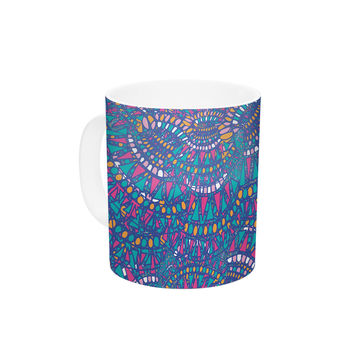 "Miranda Mol ""Kaleidoscopic Blue"" Blue Geometric Ceramic Coffee Mug"
