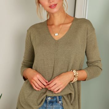 Lofty V-Neck Sweater Light Olive