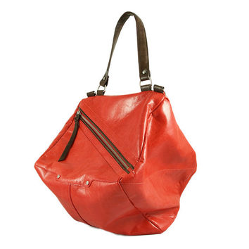 Qb Red Leather Messenger Bag