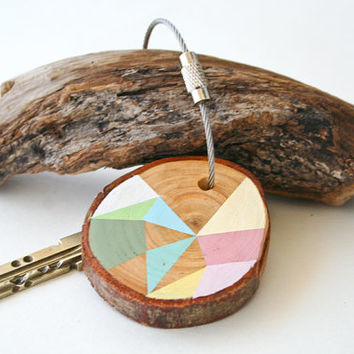 Pine wood keychain with stainless steel cable wire, tones of mint, pale pink, ivory, light blue geometric triangle shapes