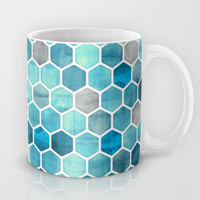 Blue Ink - watercolor hexagon pattern Mug by Micklyn