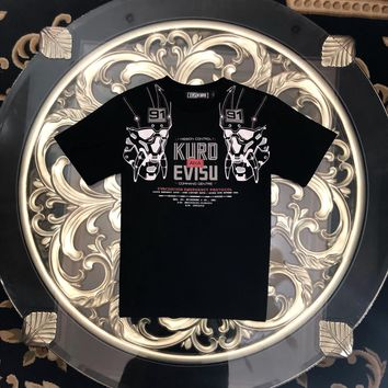 kuyou EVISU 2019 counters the latest mechanical reflective ghost head letter with short sleeves