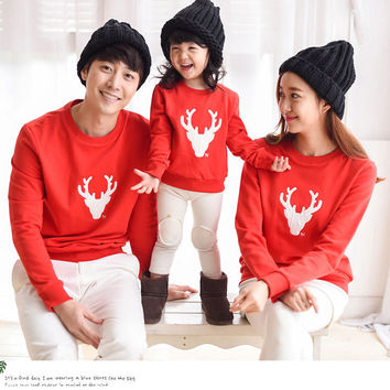 2016 Christmas Family Look matching clothes Deer Mommy and Me Clothes Matching outfits Mother Daughter Father Baby full T-shirts
