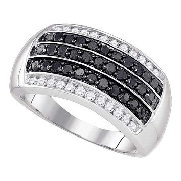 10kt White Gold Men's Round Black Color Enhanced Diamond Band Ring 1.00 Cttw - FREE Shipping (US/CAN)
