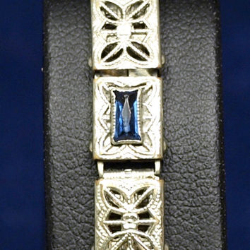 Stunning Circa 1930's, Rare 14K Solid White Gold Case with Sapphires: Art Deco Style Wrist Watch. 15 Jewel, With Original Wrist Band.