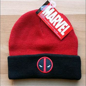 DeadPool Marvel Comics Costume Cosplay Roll Slouch Knit Cuff Beanie Cap Hat NEW