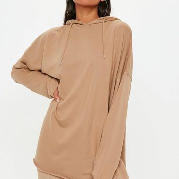 Missguided - Camel Raw Hem Hooded Sweatshirt Dress