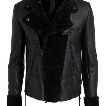 Ann Demeulemeester Leather and Shearling Biker Jacket