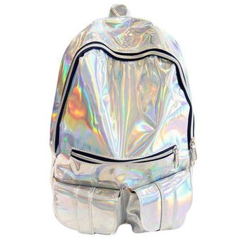 School Backpacks for kids for college leather holographic