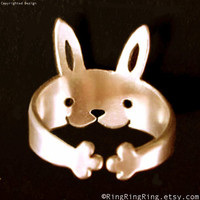 Bronze Adjustable Cute animal rabbit ring jewelry by RingRingRing