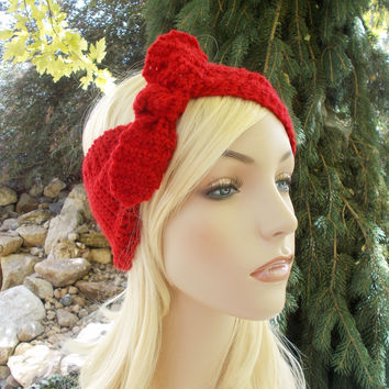 Red Bow Knot Crochet Headband