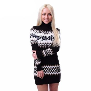 Snowflake Twisted Christmas Sweater Women Warm Striped Pullover