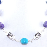 Purple blue turquoise agate white glass pearl bead wire wrap chain link necklace, Silver plated copper wire, Adjustable claw clasp choker