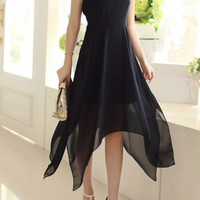 Black Sleeveless Chiffon Dress