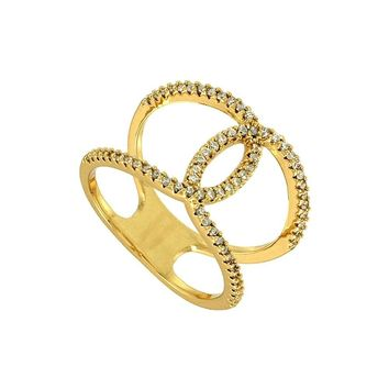 *Goldtone Chanel Design Style Cubic Zirconia Ring