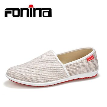 FONIRRA Men Casual Shoes 2017 Summer Breathable Hemp Men Shoes Concise Soft Casual Flat Fashion Men's Loafers Shoes 184