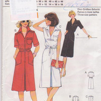 Pattern for zip front shirt dress short sleeves or sleeveless optional elastic waist misses plus size 40 42 44 Burda 3515 UNOPENED and UNCUT