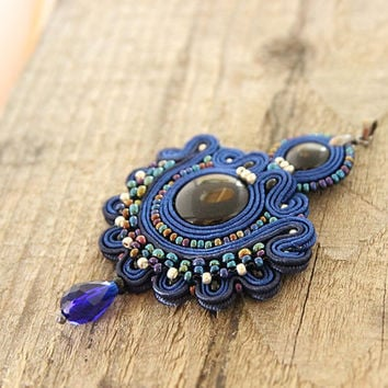 Blue beaded pendant, blue embroidered pendant, hand embroidered pendant, blue black pendant, soutache jewelry, blue soutache pendant