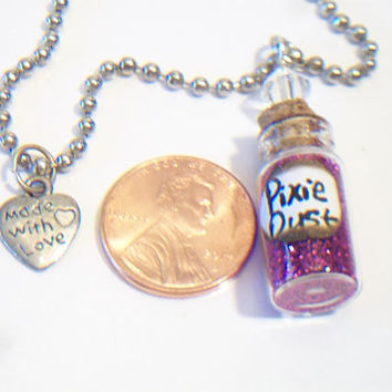 Purple Glitter Pixie Dust Vial Necklace Whimsical Magical Fairy Jewelry For Her