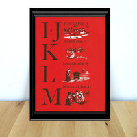 I and J, K, L, M, Alphabet Themed Nursery & Home Decor Print  (1970s} Vintage Book Page