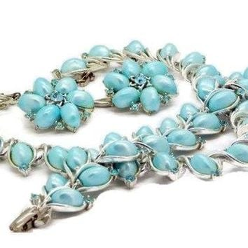 Vintage Lisner Sky Blue Thermoset Rhinestone Parure, Necklace, Bracelet and Earrings