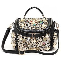 Spiked Rivets Colorful Rhinestones Embellished Shoulder Bag Handbag