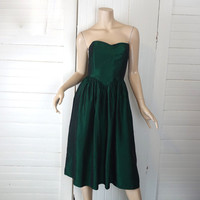 Forest Green Strapless Dress- 60s Prom / Formal- 1960s Party Dress