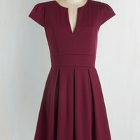 ModCloth Mid-length Cap Sleeves Fit & Flare Meet Me at the Punch Bowl Dress in Berry