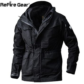 ReFire Gear Army Field Tactical Jacket Men Waterproof Rip-stop Camouflage Military Jackets Autumn Multi-Pockets Windbreaker Coat