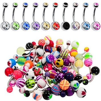 BodyJ4You® Belly Button Ring 60 Pieces Lot Double Gem and Mix Piercing Jewelry 14G