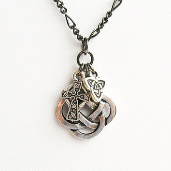 Celtic Knot Necklace - Celtic Quarternary Knot with Celtic Cross and Trinity Charms - on Gunmetal Chain