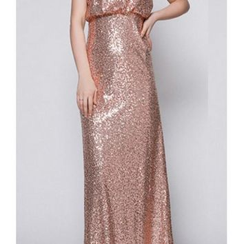 New Sequin Cut Out Backless Wedding Party Evening Maxi Dress