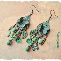 Boho Butterfly Earrings, Modern Hippie, Gypsy Soul, Patina Assemblage Earrings, Statement, bohostyleme, Kaye Kraus