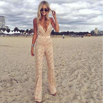 Rompers Womens Jumpsuit 2016 Fashionable Spaghetti Strap #7 White Wide Leg Jumpsuit Long Summer Style Sexy Sequin Full Bodysuit
