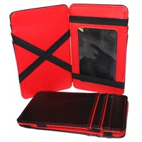 Red Magic Wallet Slim Money Credit Card Holder Id Business Mens Leather Faux