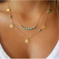 Multi layer Necklace Gold Fashion Choker Gold Plated Beads Necklaces For Women Statement Necklaces & Pendants