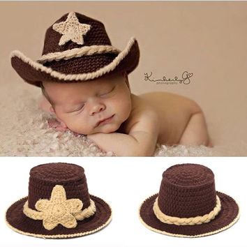 Newborn Baby Crochet Western Cowboy Hat Photo Photography Props Handmade Knit Infant Country Cap Cotton H083